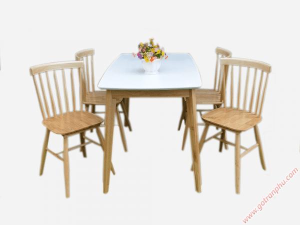 Bộ bàn ghế ăn gỗ cao su 4 ghế cao cấp BA009
