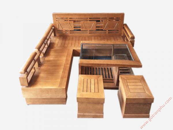 Bộ sofa góc phòng khách gỗ sồi Mỹ SF002 (1)