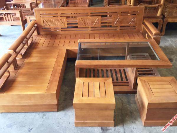 Bộ sofa góc phòng khách gỗ sồi Mỹ SF002 (4)