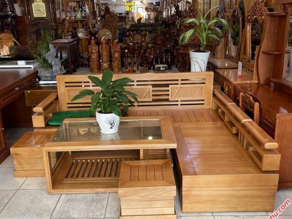 Bộ sofa gỗ bích bàn mặt kính cong SF002