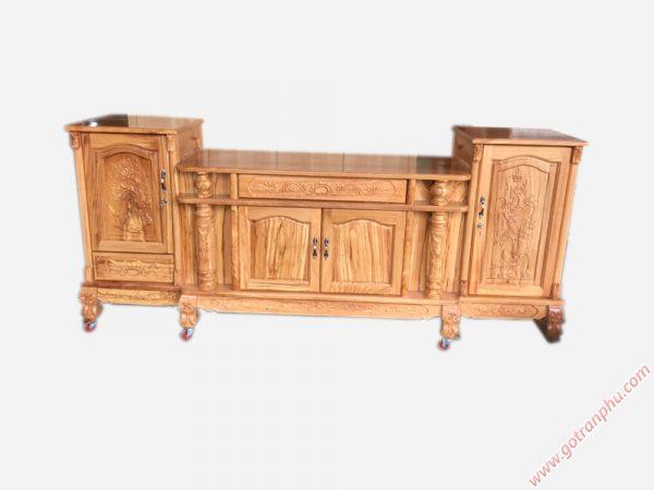 Kệ tivi trang trí phòng khách gỗ gõ đỏ 100% 2m4 - KT004 (2)