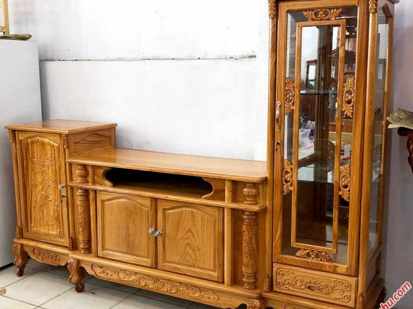 Tủ đặt tivi lệch gỗ gõ đỏ 100% 2m4 KT005 (9)
