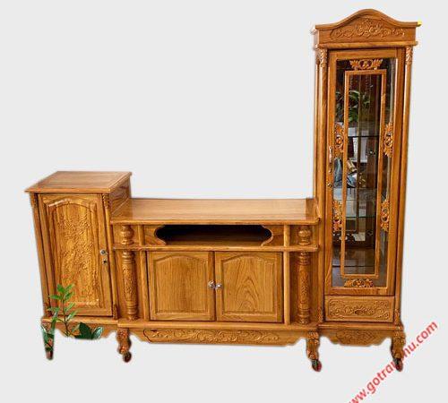 Tủ tivi kiểu lệch gỗ gõ đỏ 2m4 KT005 (1)