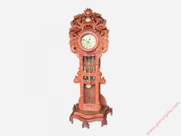Đồng hồ đứng gỗ hương đá chạm rồng - DH005 (2)
