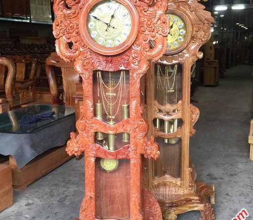 Đồng hồ đứng gỗ hương đá chạm rồng - DH005 (3)