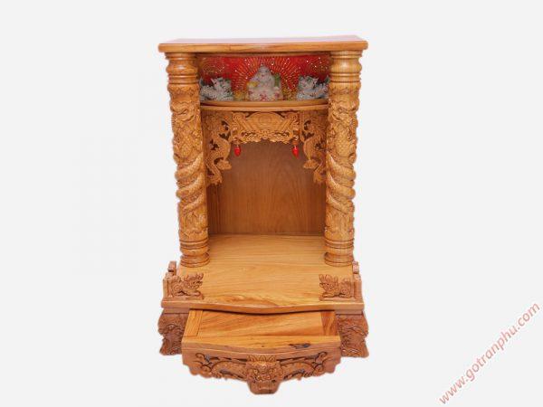 Bàn thờ ông địa gỗ gõ đỏ có đèn ngang 60cm - 70cm (1)