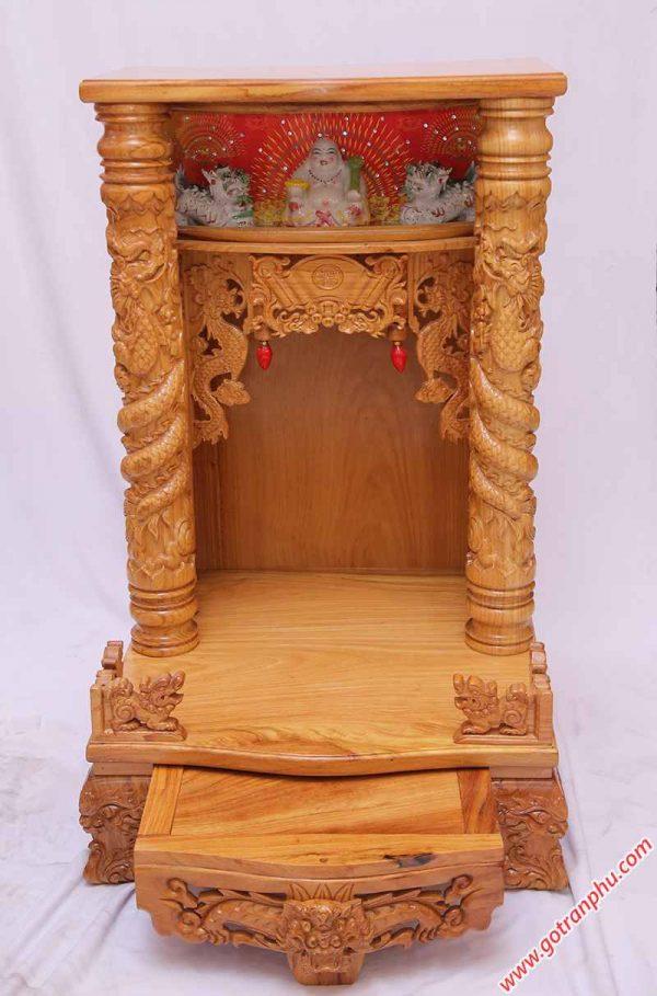 Bàn thờ ông địa gỗ gõ đỏ có đèn ngang 60cm - 70cm (2)
