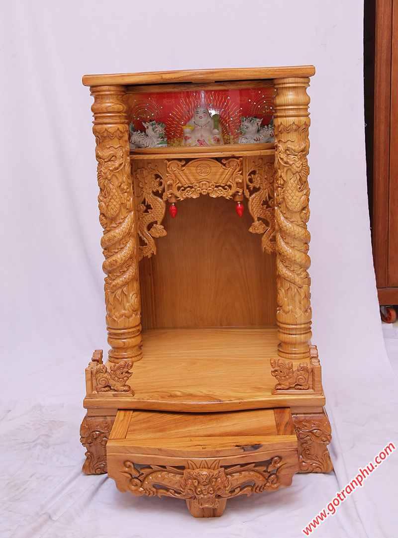 Bàn thờ ông địa gỗ gõ đỏ có đèn ngang 60cm - 70cm (3)