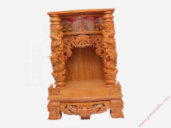 Bàn thờ thần tài gỗ gõ đỏ chạm rồng nổi 60cm - 70cm (1)