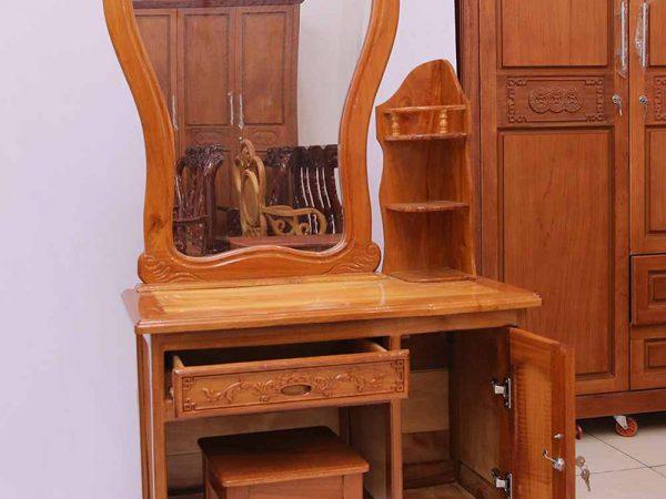 Bàn trang điểm gỗ căm gõ gương vòm ngang 80cm BT007 (5)