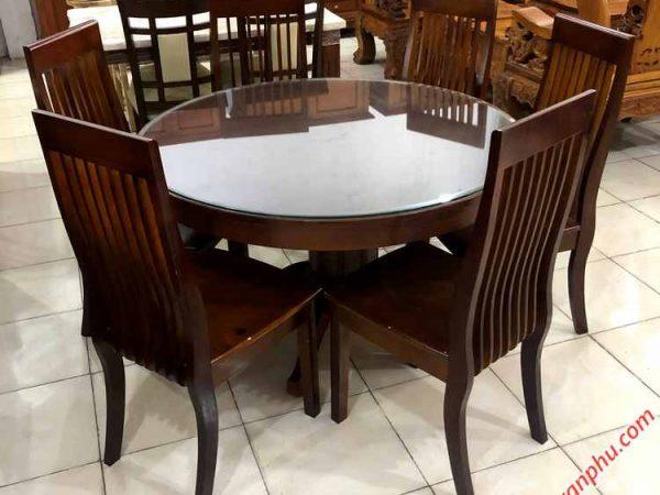 Bộ bàn ăn gỗ Sồi miền Nam hình tròn 6 ghế (1)