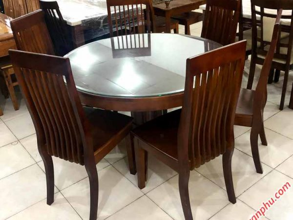 Bộ bàn ăn gỗ Sồi miền Nam hình tròn 6 ghế (2)