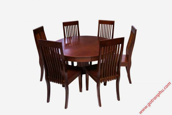 Bộ bàn ăn gỗ Sồi miền Nam hình tròn 6 ghế (3)