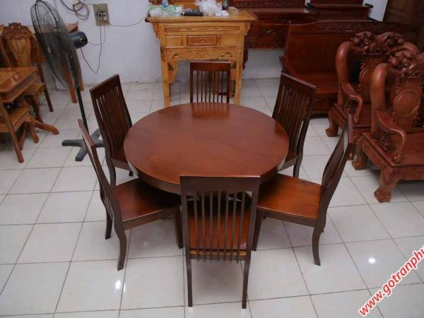 Bộ bàn ăn gỗ Sồi miền Nam hình tròn 6 ghế (4)