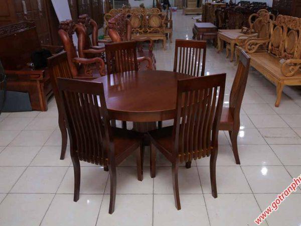 Bộ bàn ăn gỗ Sồi miền Nam hình tròn 6 ghế (5)