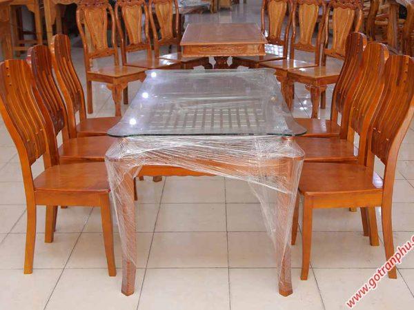 Bộ bàn ăn gỗ sồi miền Nam kính 2 tầng 6 ghế BA011 (2)