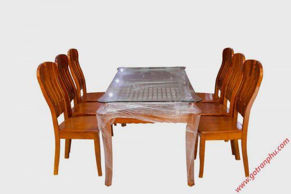 Bộ bàn ăn gỗ sồi miền Nam kính 2 tầng 6 ghế BA011 (3)