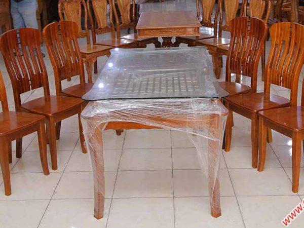 Bộ bàn ăn gỗ sồi miền Nam kính 2 tầng 6 ghế BA011 (4)