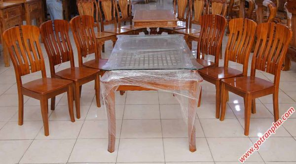 Bộ bàn ăn gỗ sồi miền Nam kính 2 tầng 6 ghế BA011 (5)