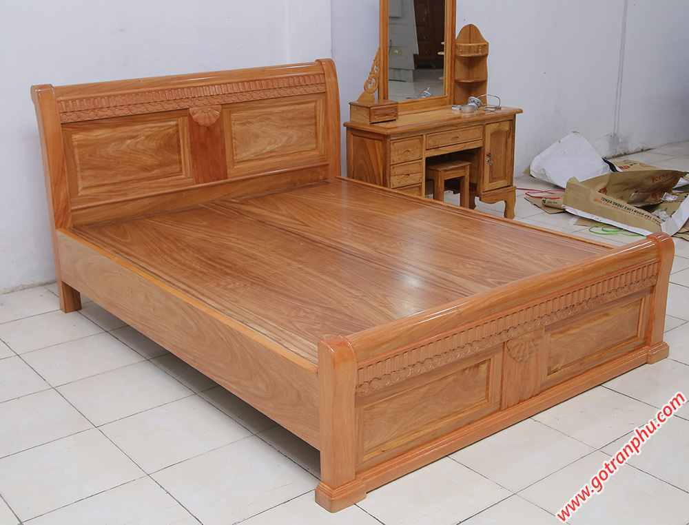 Giường ngủ gỗ gõ đỏ Campuchia dát phản liền tấm (1m6 - 1m82m) (1)