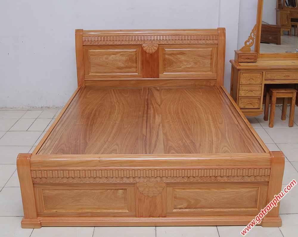 Giường ngủ gỗ gõ đỏ Campuchia dát phản liền tấm (1m6 - 1m82m) (4)
