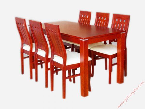 Bàn ăn cao su nhập khẩu hình chữ nhật 6 ghế bọc nệm BA022