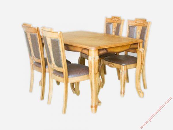 Bộ bàn ăn gỗ cao su luis 6 ghế BA016 (2)