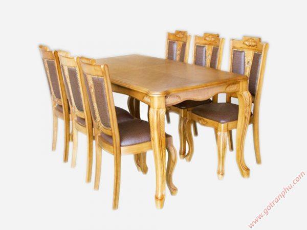 Bộ bàn ăn gỗ cao su luis 6 ghế BA019