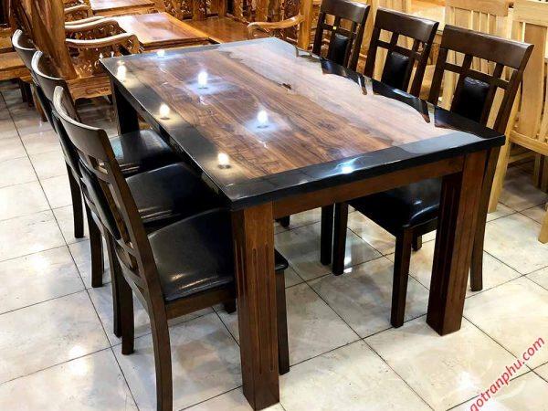 Bộ bàn ăn gỗ cao su mặt giả đá 6 ghế màu đen BA023 (1)