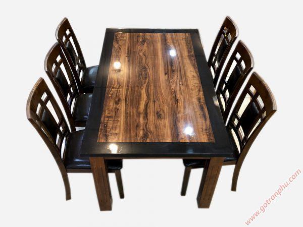 Bộ bàn ăn gỗ cao su mặt giả đá 6 ghế màu đen BA023 (13)
