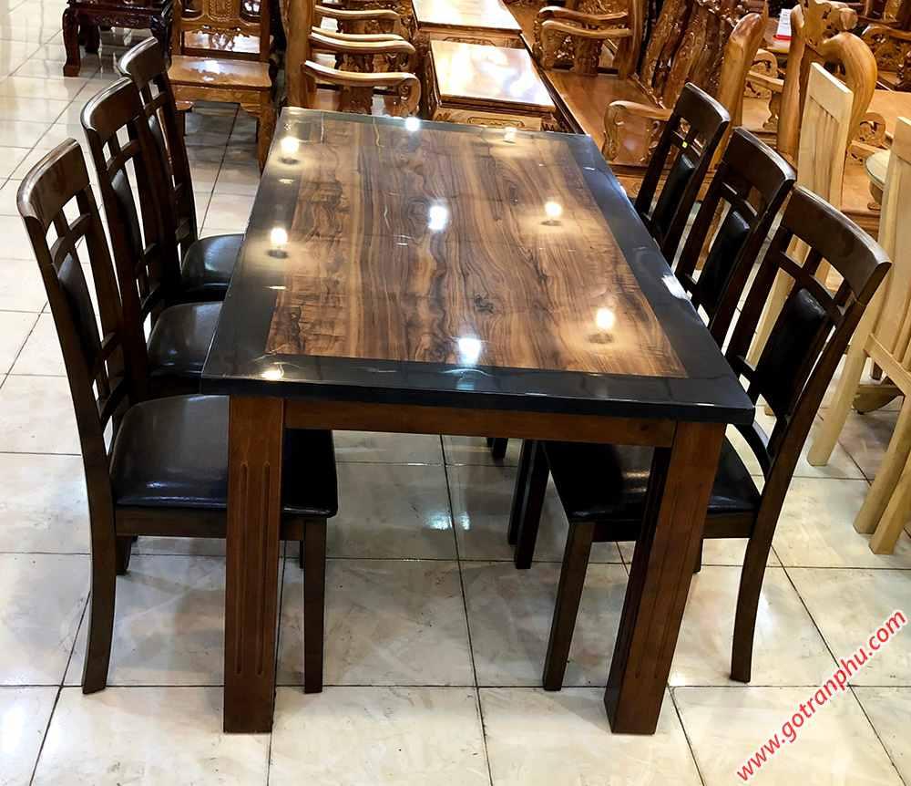 Bộ bàn ăn gỗ cao su mặt giả đá 6 ghế màu đen BA023 (2)