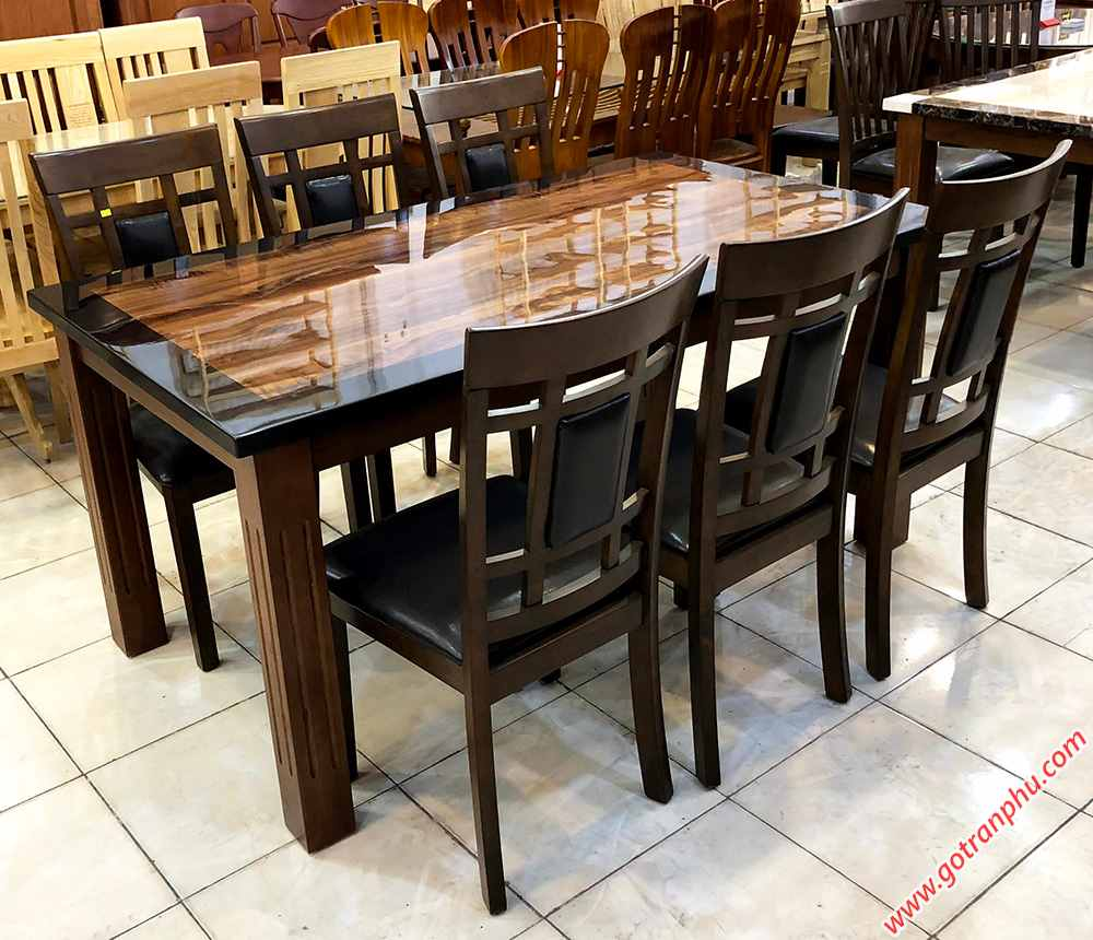 Bộ bàn ăn gỗ cao su mặt giả đá 6 ghế màu đen BA023 (8)