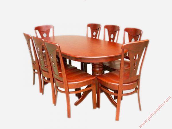 Bộ bàn ăn gỗ cao su nhập khẩu hình oval 6 ghế - BA013
