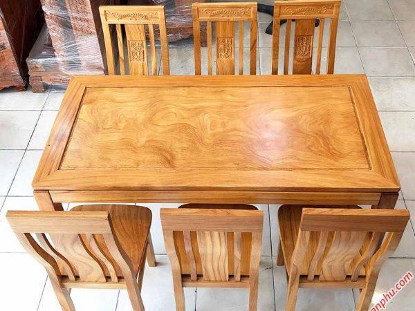 Bộ bàn ăn gỗ gõ đỏ hình chữ nhật 6 ghế BA015 (6)