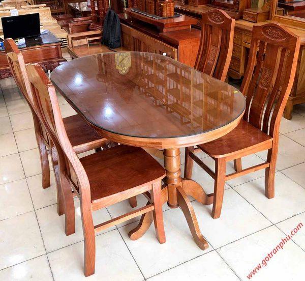 Bộ bàn ăn gỗ sồi hình oval 4 ghế 1m4 BA014 (0)