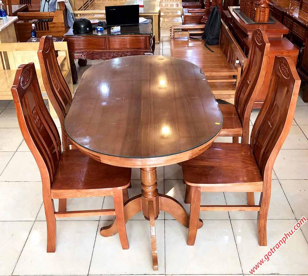 Bộ bàn ăn gỗ sồi hình oval 4 ghế 1m4 BA014 (1)