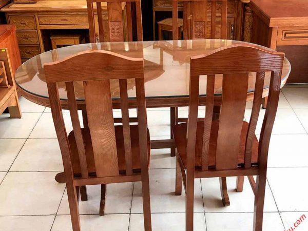 Bộ bàn ăn gỗ sồi hình oval 4 ghế 1m4 BA014 (2)