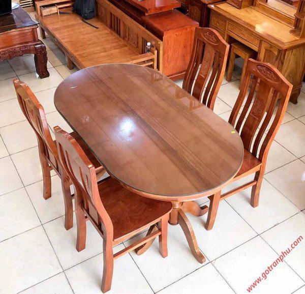 Bộ bàn ăn gỗ sồi hình oval 4 ghế 1m4 BA014 (5)