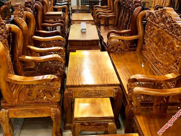 Bộ salon gỗ gõ đỏ tay 10 chạm rồng bát tiên SA028 (5)