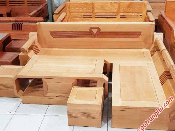 Bộ sofa góc gỗ bích họa tiết kim cương SF022 (2)