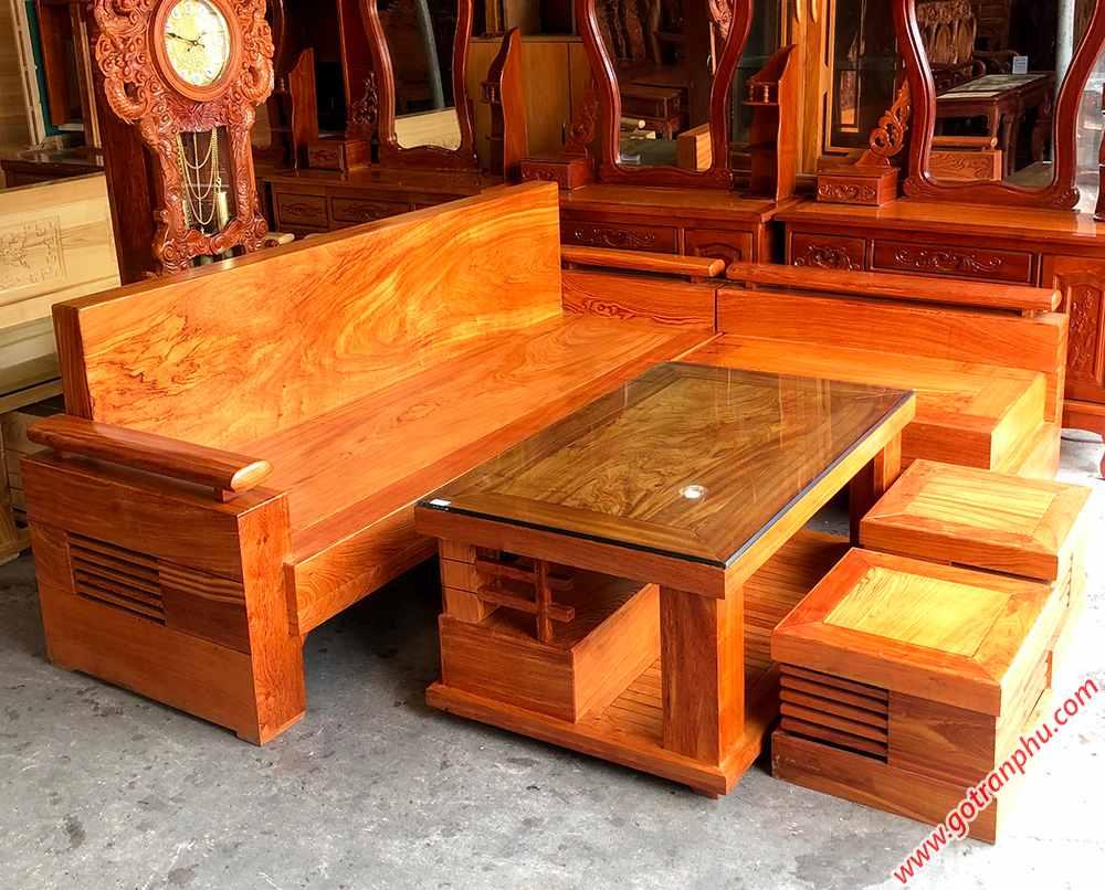 Bộ sofa góc gỗ hương đá tựa liền SF019 (2)