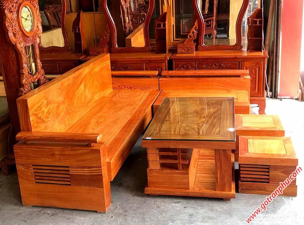 Bộ sofa góc gỗ hương đá tựa liền SF019 (3)