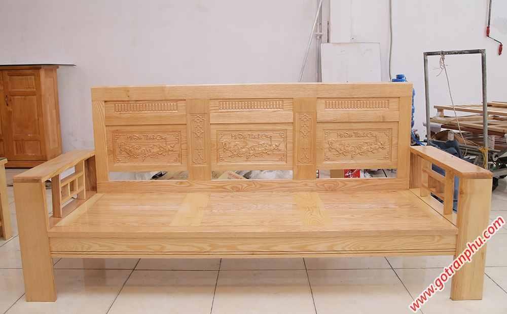 Bộ sofa gỗ sồi màu trắng SF014 (3)
