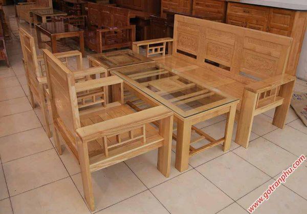 Bộ sofa gỗ sồi màu trắng SF014 (8)