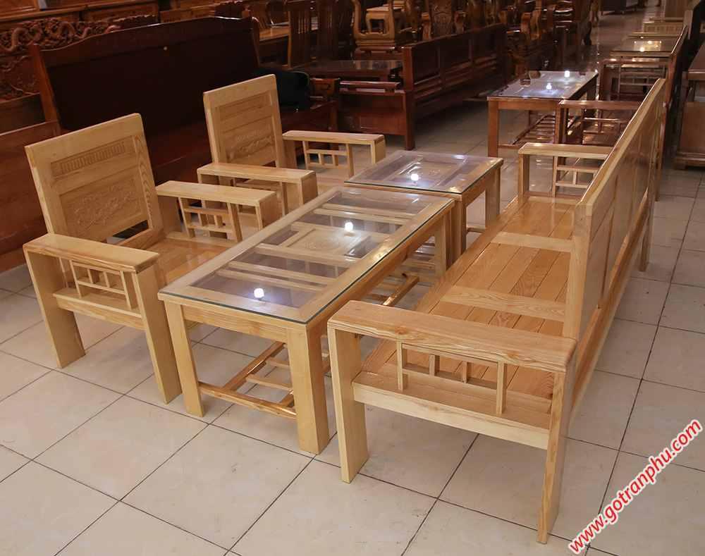 Bộ sofa gỗ sồi màu trắng SF014 (9)