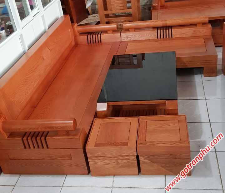Bộ sofa gỗ sồi mỹ chạm hình kim cương SF017 (2)