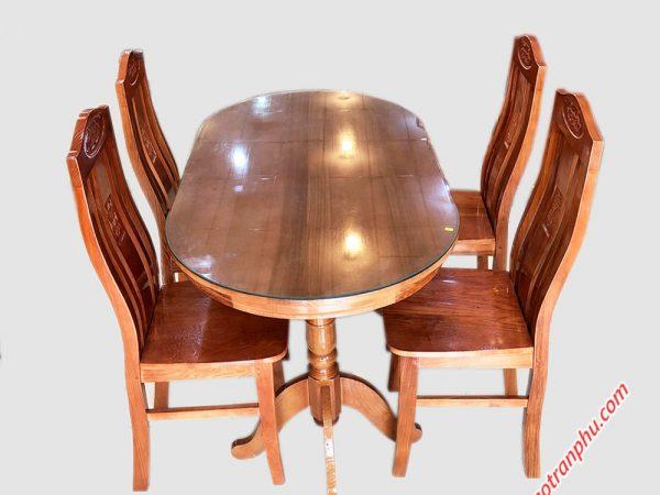 Bộ bàn ăn hình oval 4 ghế 1m4 gỗ sồi BA016