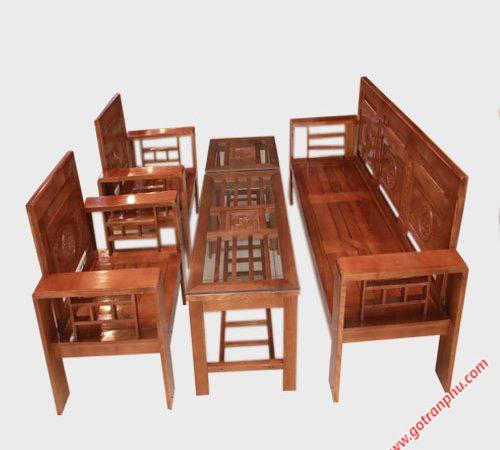 Bộ bàn ghế sofa gỗ sồi cột 12 SF013