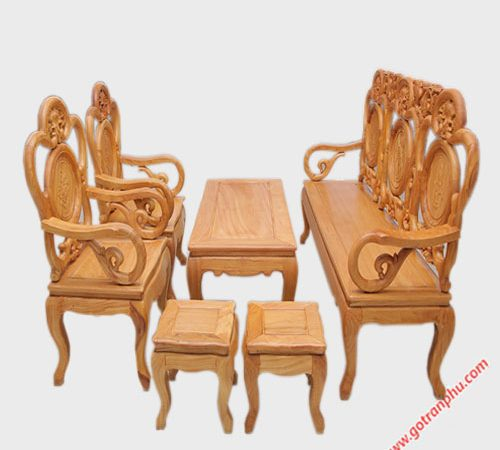 Bộ salon gỗ gõ đỏ kiểu chuông ruột nho SA014