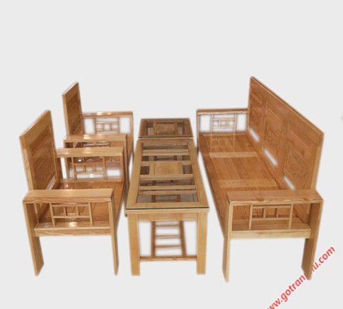 Bộ sofa gỗ sồi cột 12 màu trắng SF014